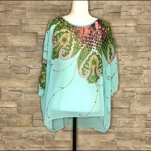 Tops - Sheer and flowy cyan paisley batwing top
